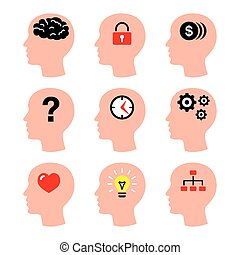 Head, man thoughts, brain icons