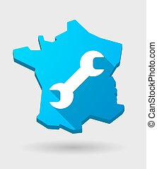 long shadow France map icon with a monkey wrench -...