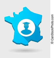 long shadow France map icon with a student avatar -...