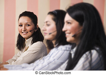 Women customer service team - Three women customer service...