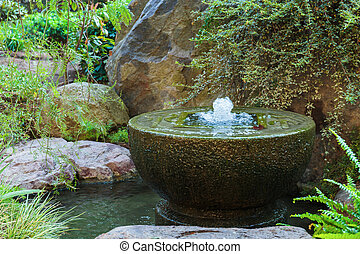 Fountain in Japanese garden in Monte Carlo, Monaco