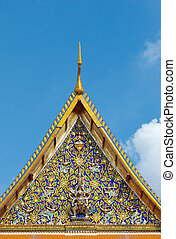 Detail of temple roof in Bangkok, Thailand - Detail of...