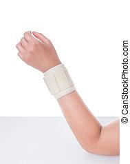 Damaged wrist. Orthopedic bandage is imposed.
