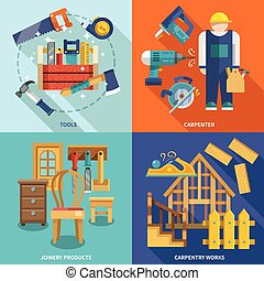 Carpentry flat set - Carpentry works icons flat set with...