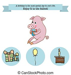 Congratulations birthday with a character pig