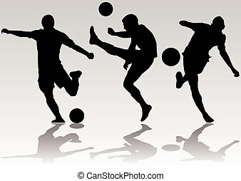 Soccer football player silhouettes - Vector - Soccer...