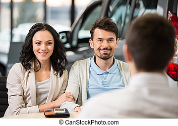 Car sales - Some paperwork before buying a car. Young car...