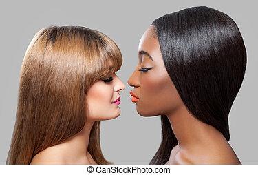 pretas, e, Caucasiano, belezas, com, direito, cabelo,