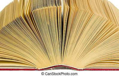Open old book closeup on white background Isolated