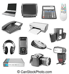 collection of electronic devices - set of electronic object...