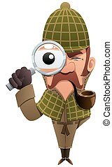 Detective 2 - Cartoon illustration of detective, looking at...