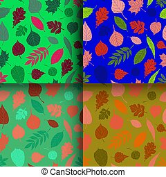 Set of seamless patterns with leaves - Vector seamless...