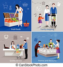 Supermarket People Set - People in supermarket design...