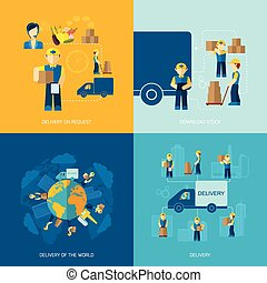 Delivery Man Icon Flat - Delivery man design concepts set...