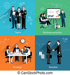 Teamwork Design Concept - Teamwork design concept set with...