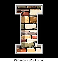 stone letter I - vector image of the letter I on stone wall...