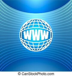 Icon World Wide Web on the Abstract Blue Background