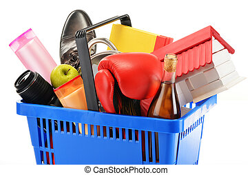 Variety of consumer products in plastic shopping basket...