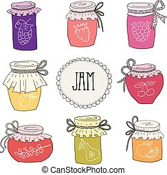 The set of hand drawn jars with home-made jams. Home Canning...