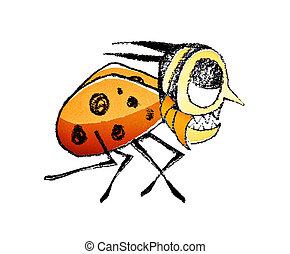 Funny Bug Running Raster Illustration