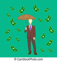 The businessman came under the rain of money