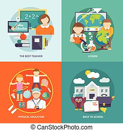 School Icon Flat - School design concept set with best...