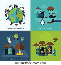 Pollution Icon Flat - Pollution design concept set with...