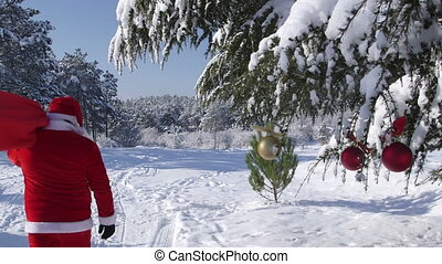 Santa Claus with a bag of gifts coming in the winter woods