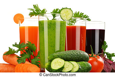 Glasses with fresh vegetable juices isolated on white Detox...