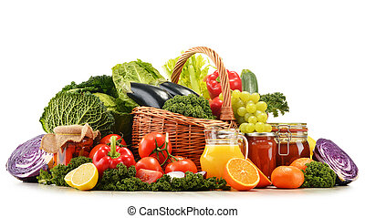 Wicker basket with assorted organic vegetables and fruits  isola