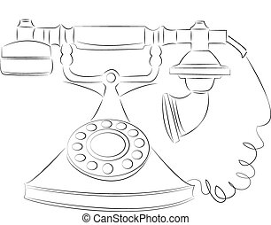 cartoon vector outline illustration telephone ringing
