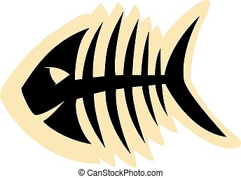 fish skeleton - Sketch of fish skeleton black