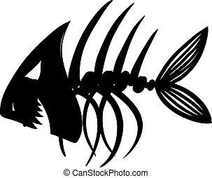 fish skeleton - Sketch of fish skeleton black
