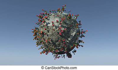 little planet - illustration of a Mini planet and ecosystem