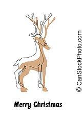 Vixen Christmas Reindeer Vector - Vixen Reindeer Vintage...