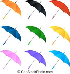 Set of umbrellas on white background. Vector illustration