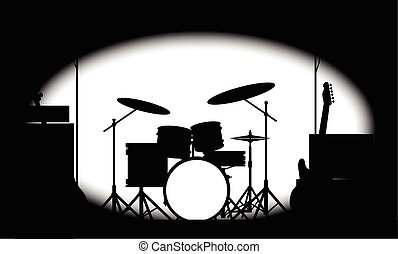Half Tone Rock Band Poster - Silhouette of a rock bands...