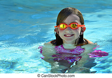 Young Girl Swimming with Goggles