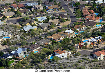 Desert Town with Swimming Pools and Homes - Landscape of...
