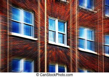 predios, janelas, escritório
