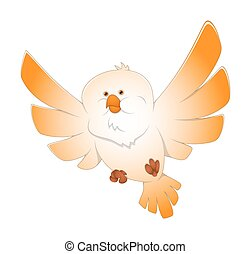 Flying Bird - Cartoon Comic Flying Bird Vector Illustration