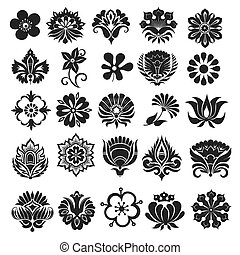 Set of graphical flowers - Set of graphical icons flowers