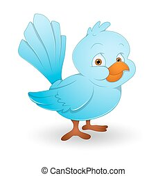 Bird - Cute Small Blue Bird Face Expression Vector...