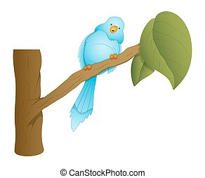 Sitting Bird on Branch Vector