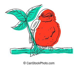 Bird on Branch Drawing Vector
