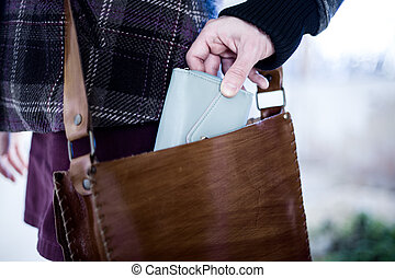 Pickpocket Stealing a Wallet from a Leather Bag