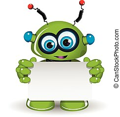 Green Robot And White Background - Illustration a green...