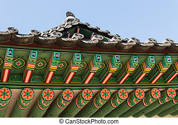 Tile Roof Detail of Traditional Korean Palace and Temples,...