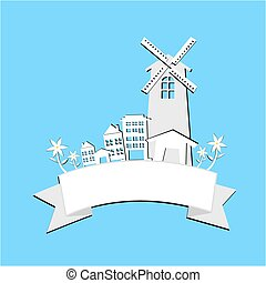 house and building with wind turbine for electric energy generat