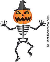 Happy dancing skeleton wearing a pumpkin